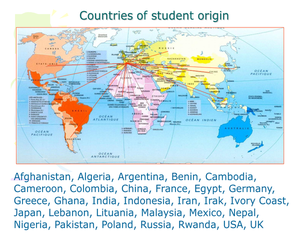 Countries of student origin