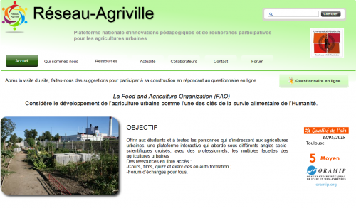 Réseau agriville : lancement d'une plateforme sur l'agriculture urbaine.